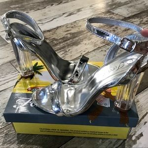 Shoes - Ankle strap silver chrome heels